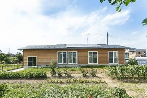 ガレージがある木のぬくもりに包まれた平屋の家